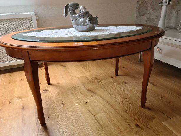 Stół drewniany owalny z szklanym blatem
