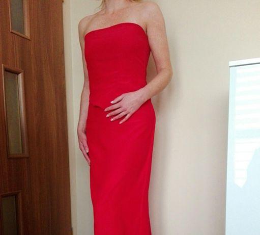 LUKSUSOWA sukienka długa maxi czerwona gorset spódnica S M L GRATIS W.