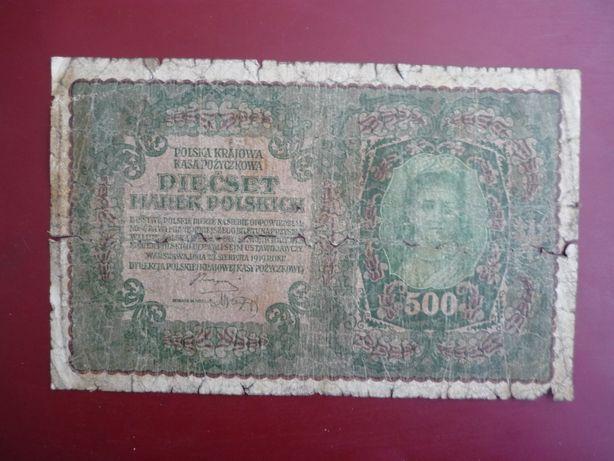 Banknot 500 Marek polskich 23,08,1919 r,