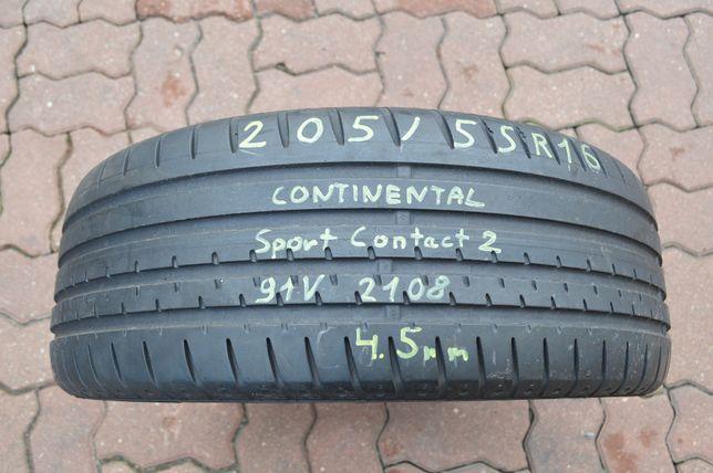 1x 205/55r16 CONTINENTAL SPORT CONTACT 2 4.5mm 91V 205/55/16 1 sztuka