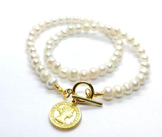 Naszyjnik z naturalnych pereł złota moneta zloto 24 karaty