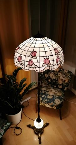 Lampa podłogowa witrażowa Tiffany, kryształ i mosiądz lata 50, 60