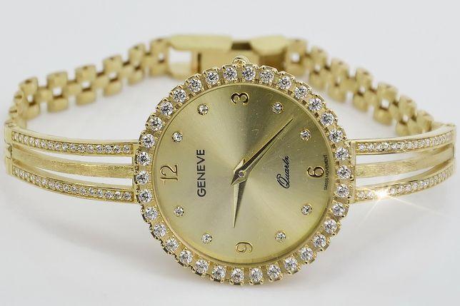 Prześliczny 14K złoty damski zegarek 21,9g lw108y B