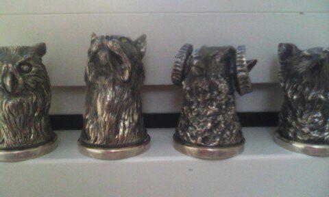 """Бронзовые рюмки (ритоны """"ОХОТА""""), набор 4 головы. Серебрение, чернение"""