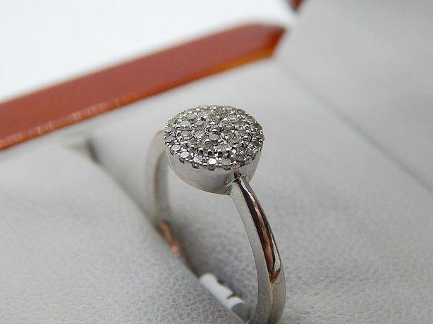 złoty pierścionek białe złoto 36 brylantów pr 333 waga 2,1 g rozm. 10