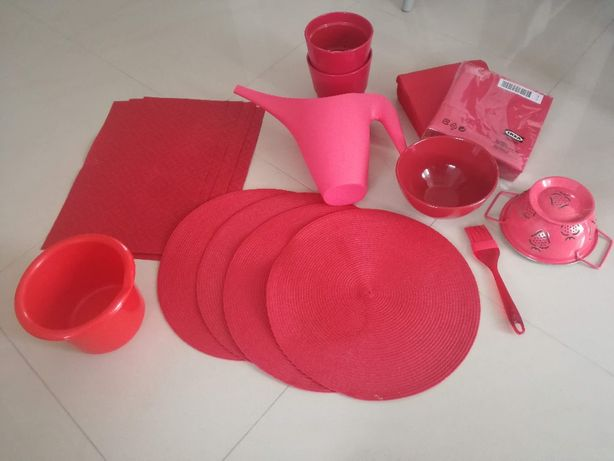 Zestaw czerwonych dodatków do kuchni, jadalni+GRATIS