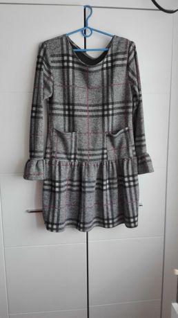 Jesienna szara sukienka w kratę rozmiar 38