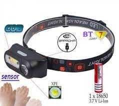 Налобный фонарь KX-1804A XPE+COB USB 2 диода + 18650 + сенсор