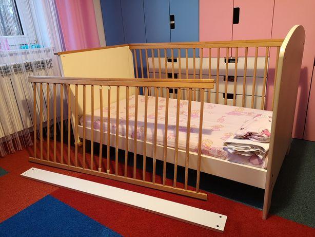 Łóżeczko dziecięce 140x70 z możliwością przebudowy i baldachimem