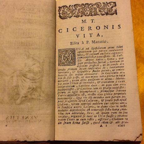 Ciceronis Epistola Edita P.Manutio 1739