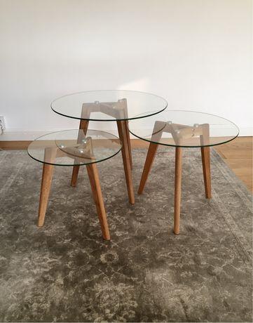 Stolik kawowy 3 stoliki szklane dębowe