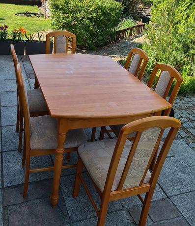 Stół z litego drewna olchowego z krzesłami