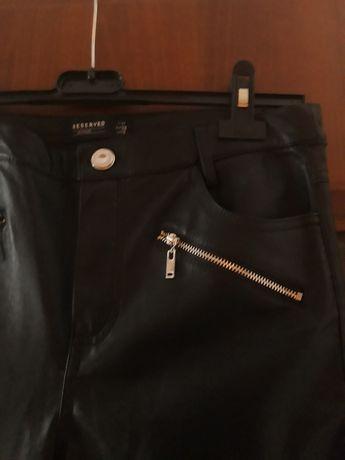 RESERVED nowe czarne spodnie rurki skóra skórzane 36