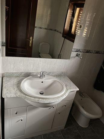 Movel WC completo com espelho+lavatorio+torneira 90cm