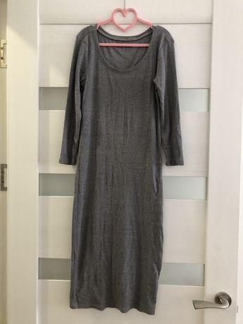 Платье миди приталеное в рубчик