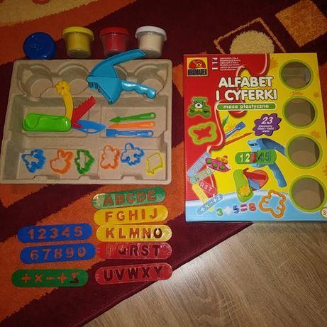 2 Nowe zestawy Alfabet i cyferki ciastolina,wytłaczanka,foremki,nożyki