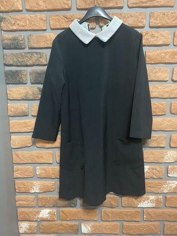 Czarna sukienka elegancka biały kołnierzyk rozmiar uniwersalny L40 XL4