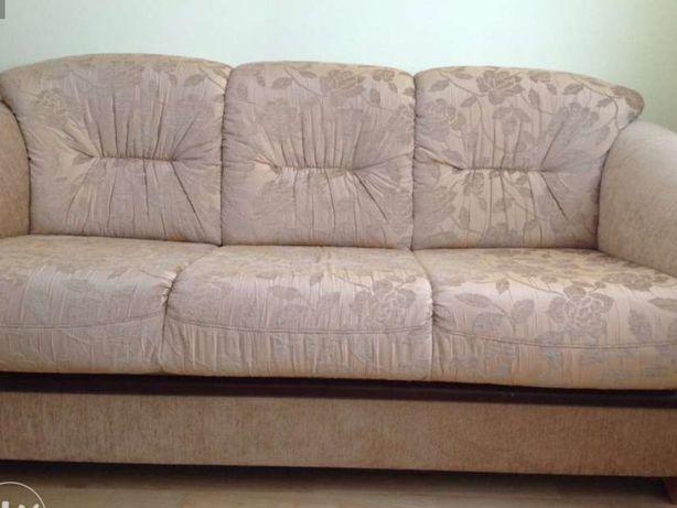 KLER--sofa trzyosobowa- piękna i elegancka + zasłony z firaną gratis