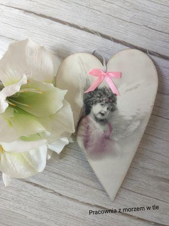 Serduszko/serce z aniołkiem i cytatem - decoupage