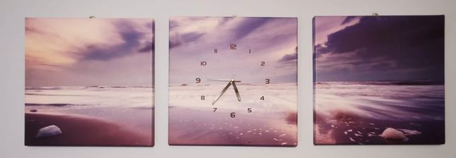 Tryptyk obraz z zegarem 40 x 120