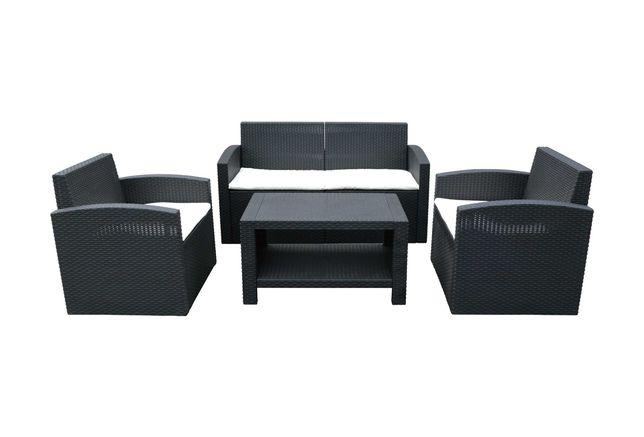Conjunto de sofás com mesa de imitação rattan