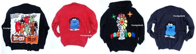 Premium sweter gruby kwiatek warkocze potwór M&M'S mmsy elmo królik U