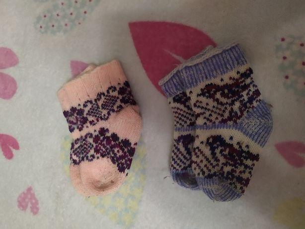 Шерстяные детские вязаные носочки на 2 - 4 года