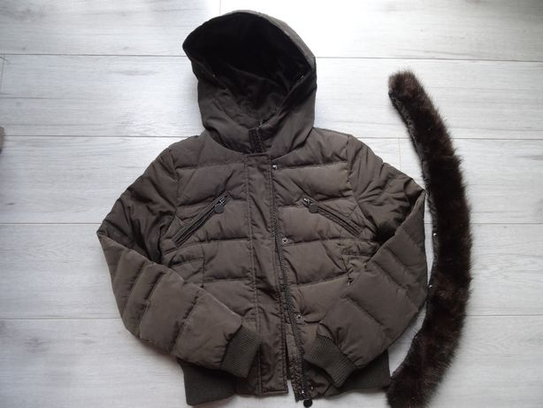 Kurtka zimowa, puchowa, khaki, Zara, roz. 36