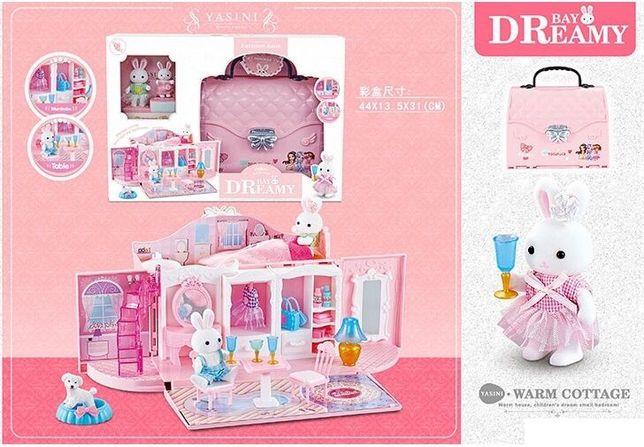 Кукольный домик чемодан домик сумочка Счасливая семья 2 фигурки