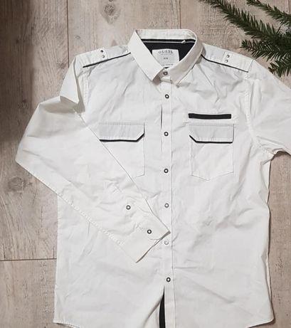 Koszula Guess biała z kołnierzykiem