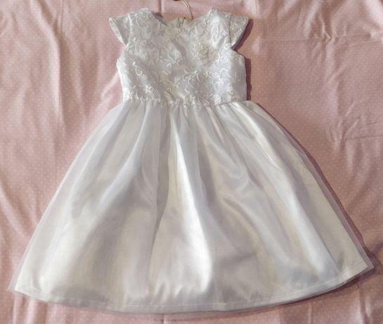 Платье для девочки белое нарядное, 104р, Бемби