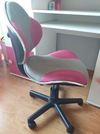 Fotel do biurka szaro różowy