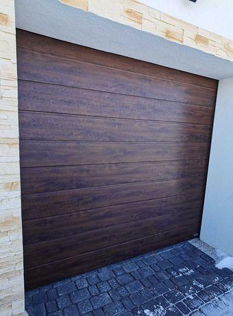 brama garażowa segmentowa Novoferm 2375x2250 ciemny orzech