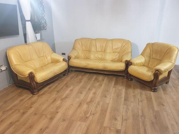Zestaw wypoczynkowy, sofa, fotel, meble, skóra, skórzany