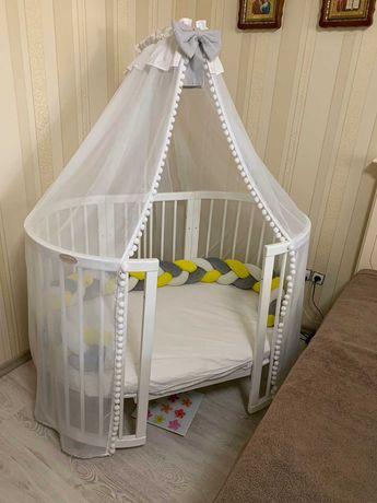 Продам детскую овальную круглую кроватку, с 2 матрасами, и балдахином