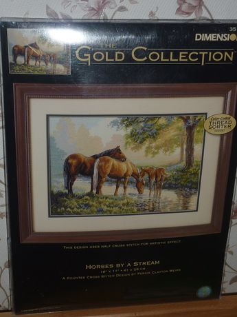 Dimensions Gold 35174 Horses by a Stream Counted Cross Stitch 16x11