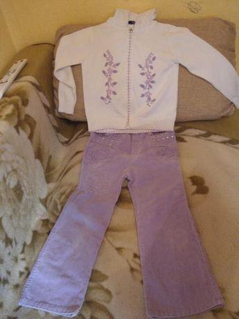 Очень красивый костюмчик (кофточка и брючки)рост 122 см 100% cotton