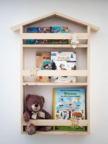Półka domek na książki bajki do pokoju dziecka