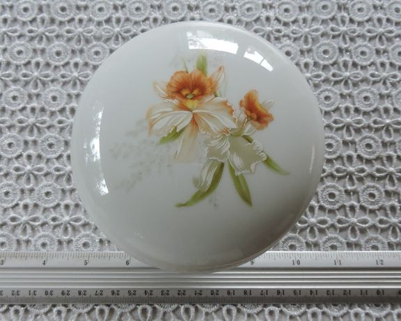 Puzdro na nóżce - kwiat limoges porcelain