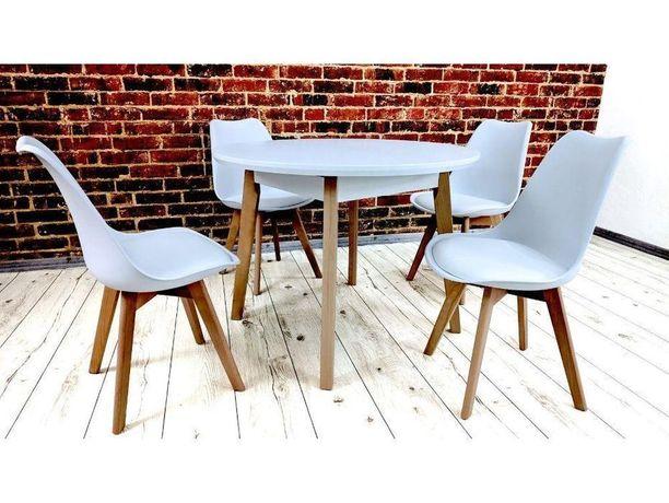 Stół okrągły OSLO 4 + 4 krzesła DSW białe siedzisko ekoskóra drewniane