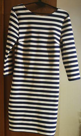 Sukienka MOHITO rozmiar M. Biało granatowa