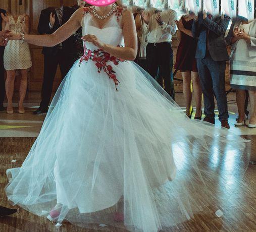 Suknia ślubna góralska kwiaty hafty z haftami kwiatami 38 M