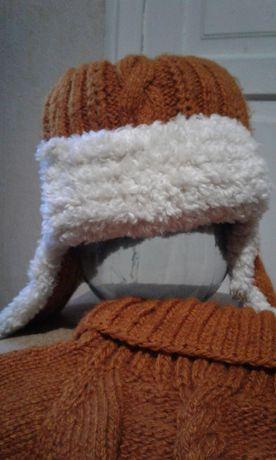 Зимняя шапка и манишка р.56