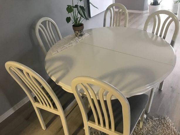 Stół okrągły drewniany biały z 6 krzesłami orzech zdobiona noga