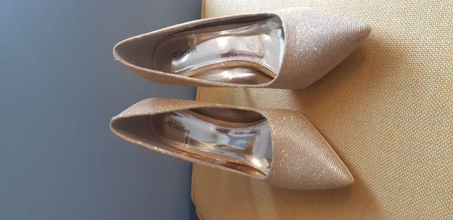 Nowe złote buty, szpilki r. 39