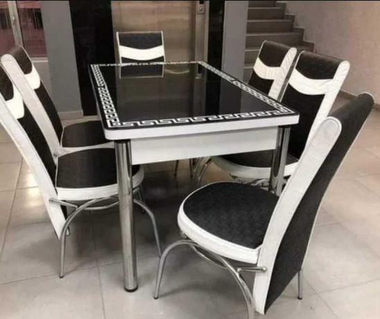 АКЦИЯ! Обеденный кухонный раскладной 3D стол и 4/6 стульев Турция