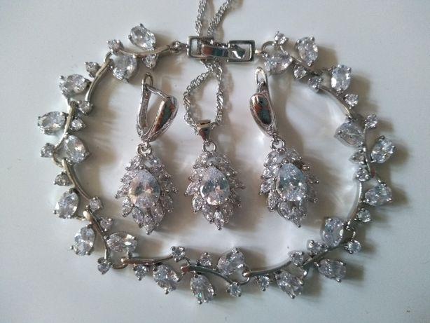 Nowy komplet biżuterii wisiorek kolczyki+bransoletka,ślub wesele