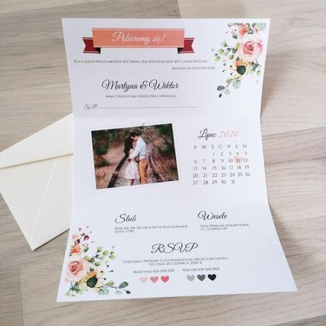 Zaproszenie na ślub składane ze zdjęciem