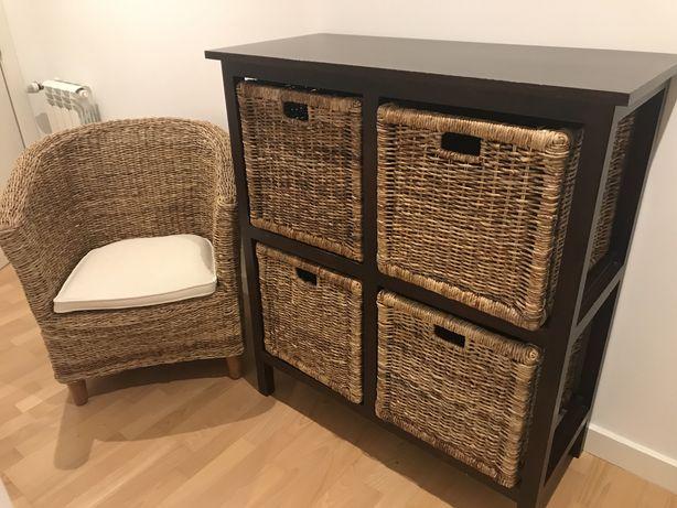 Consola / móvel madeira com 4 cestos + poltrona verga