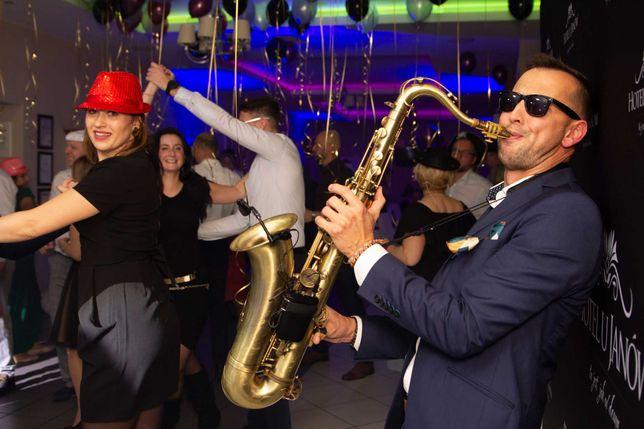Saksofonista Dj na wesele , oprawa ślubu w plenerze , muzyka w tle na